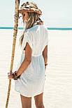 Женская белая пляжная туника с кружевом, фото 2