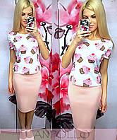 """Женский стильный костюм-двойка """"Кексик"""":юбка-карандаш футболка с рисунком (отдельно)"""