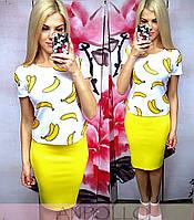 """Женский стильный костюм-двойка """"Бананы"""":юбка-карандаш футболка с рисунком (отдельно)"""