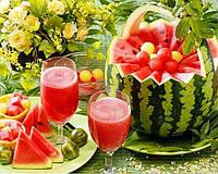 Алмазная мозаика -Арбуз, тарелка с фруктами 5 Д
