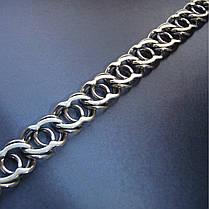 Серебряная цепочка, 500мм, 23 грамма, Арабский бисмарк, чернение, фото 3