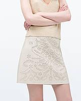 Модная женская короткая кожаная юбка трапеция белого цвета в стиле ZARA