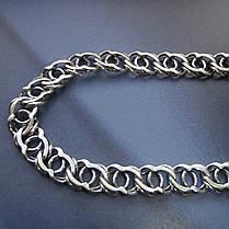Серебряная цепочка, 600мм, 28 грамм, Арабский бисмарк, чернение, фото 3