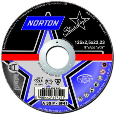 Круги зачистные по металлу Norton STARLINE 180 x 6 x 22.23