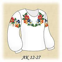 Заготовка сорочки для девочки для вышивания АК 12-27 Веселые Анютины глазки