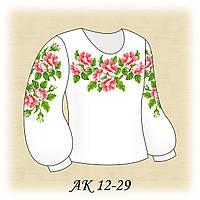 Заготовка сорочки для девочки для вышивания АК 12-29 Розовый Шиповник