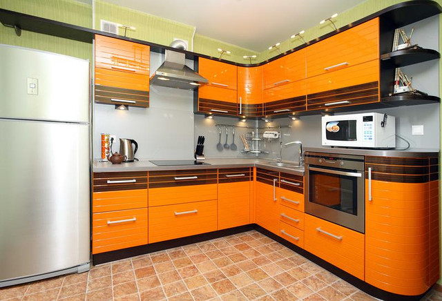 оранжевая кухня модерн мдф фото