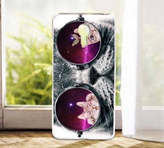 Силіконовий чохол бампер для Meizu M3 Note з картинкою кіт в окулярах