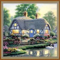 Картина стразами -Дом у воды, лебеди 3Д (Сделай сам)