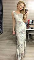 Грациозное женское платье в пол с цветочным принтом и воланом по подолу без рукавов турецкая вискоза