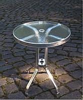 Стол алюминиевый со стеклянной столешницей