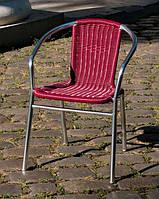 Стул алюминиевый с сиденьем из искусственного ротанга Вишня