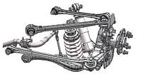 Подвеска: приводы, поворотные кулаки, опоры, цапфы, тяги, ступицы, амортизаторы, балки, пружины