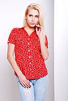 Женская летняя рубашка из ситца с коротким рукавом красного цвета