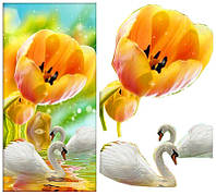 Алмазная мозаика - Лебеди с цветком, 5 Д