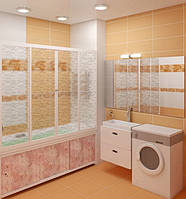 Штора на ванну Метакам 3-х створчатая, раздвижная КЛАССИК, цветная, 170 см