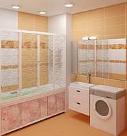 Штора на ванну Метакам 3-х створчатая, раздвижная КЛАССИК, цветная, 150 см