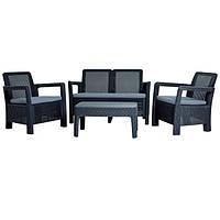 Комплект садовой мебели (столик + 2 кресла + диван) на 4 человека из искусственного ротанга