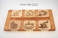 Подставки под чашки из натурального дерева ручной работы, фото 1