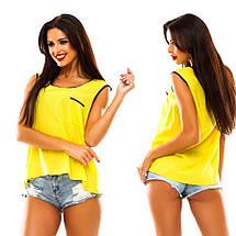 """Летняя шифоновая блуза без рукавов """"Casual"""" с карманом на груди и контрастной отделкой (4 цвета), фото 2"""