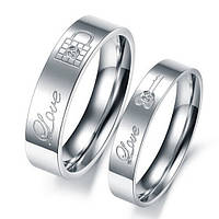 Парные обручальные титановые кольца с граввировкой Love