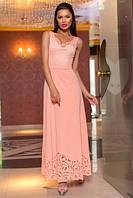 Восхитительное нарядное длинное платье в пол с перфорацией цвета пудры