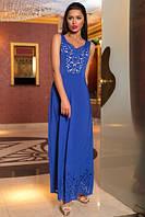 Восхитительное нарядное длинное платье в пол с перфорацией синее