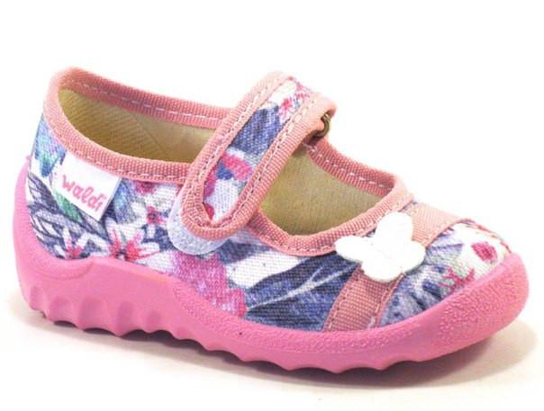 """Детские текстильные тапочки """"Цветочки"""" для девочки, Waldi, кожаная стелька"""