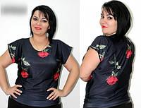 Женская блуза из микромасла 56рр -РОЗЫ