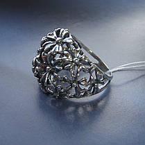 Серебряное кольцо с орнаментом в виде цветов, фото 3
