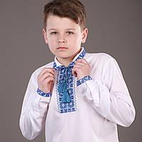 """Вышиванка для мальчика с воротничком """"Квіти сині"""""""