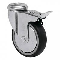 Аппаратные колеса на резиновом ходу поворотные Light с отверстием и тормозом Ø 50,75, 100,125мм.