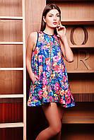 Туника-платье Лайма б/р синяя с цветочным принтом 5 из стёганого дайвинга расклешённая на молнии