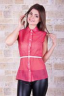 Блуза Сити 2 б/р красная в белый горошек шифоновая свободного покроя с отложным воротником и поясом
