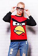 Женский свитшот с принтом Angry Birds черный с красной передней частью