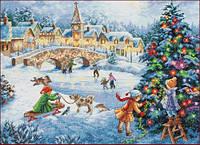 Зимний праздник Набор для вышивки крестом с печатью на ткани 14ст