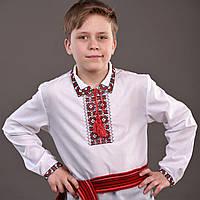 "Вышиванка для мальчика с красной вышивкой ""Квіти червоні"""