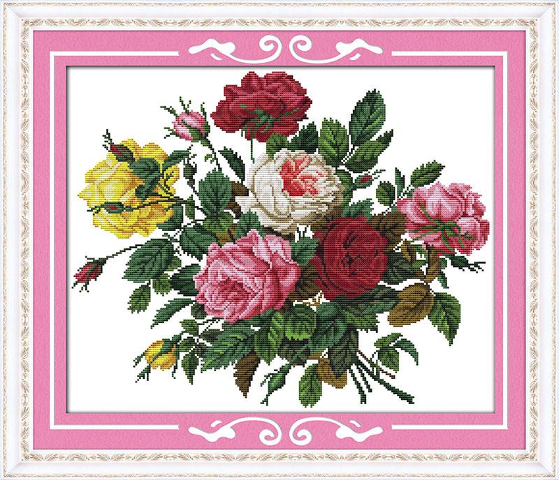 Красивые розы H308 Набор для вышивки крестом с печатью на ткани 14ст