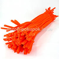 Синельная проволока (синель пушистая), цена за 10шт. Цвет - оранжевый (неон)