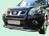 Защита переднего бампера труба двойная D60-42 на Nissan X-Trail (31) 2007-2010
