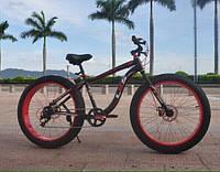 Электровелосипед LKS Fatbike Красно-чёрный (Фэтбайк) Electro Rear Drive