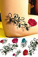 Временное тату «Розы с шипами» 3D