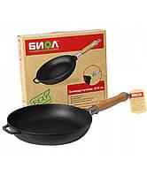 Чугунная сковорода Биол: диаметр 22см, ручка съемная деревянная
