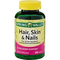 Витамины для волос, кожи, ногтей Spring Valley, 240 таблеток.