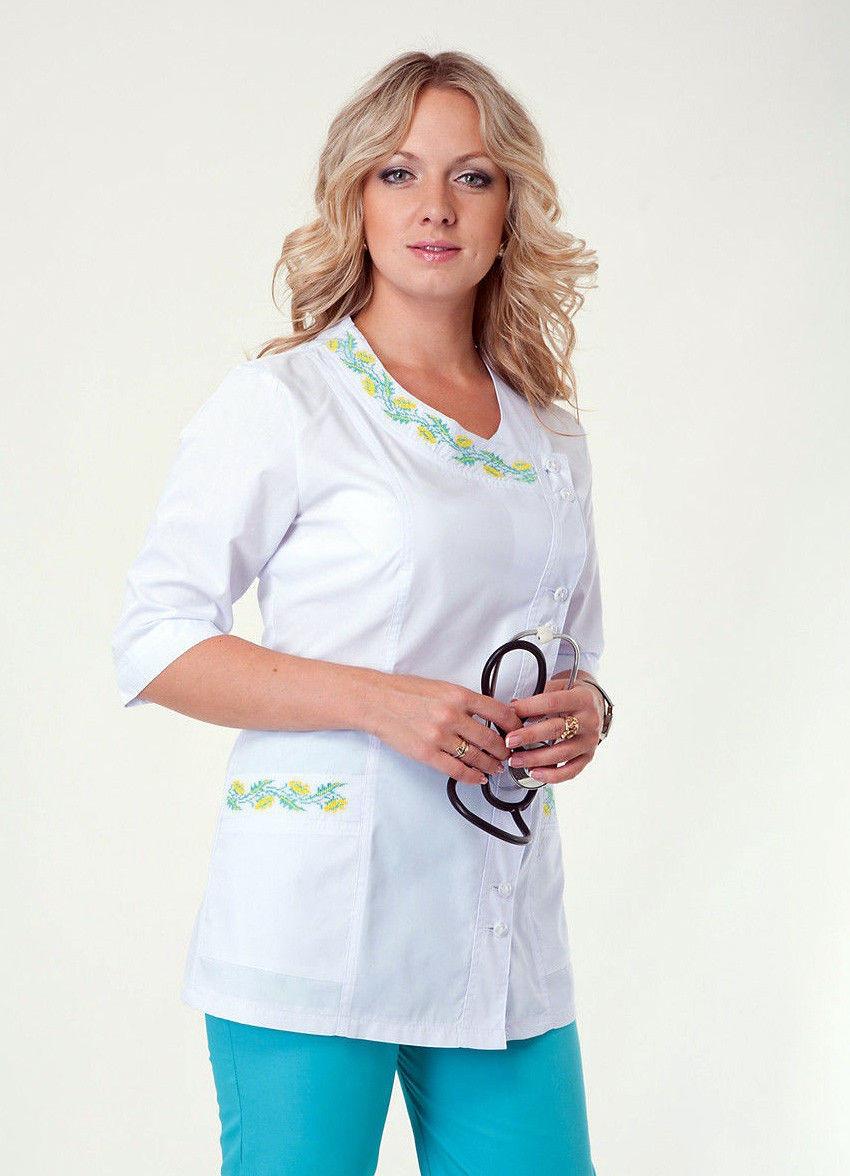 Медицинский костюм с вышивкой батист ХелсЛайф 40-56р
