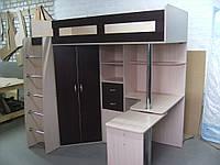 Кровать чердак с рабочей зоной и шкафом
