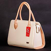 Кремовая деловая сумка женская №1346