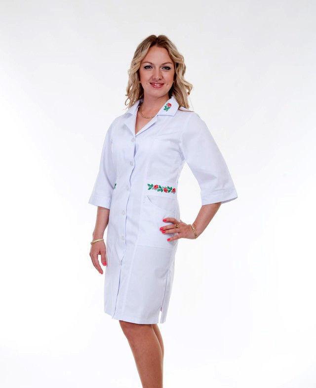 Медицинский халат с вышивкой коттон ХелсЛайф 42-56р
