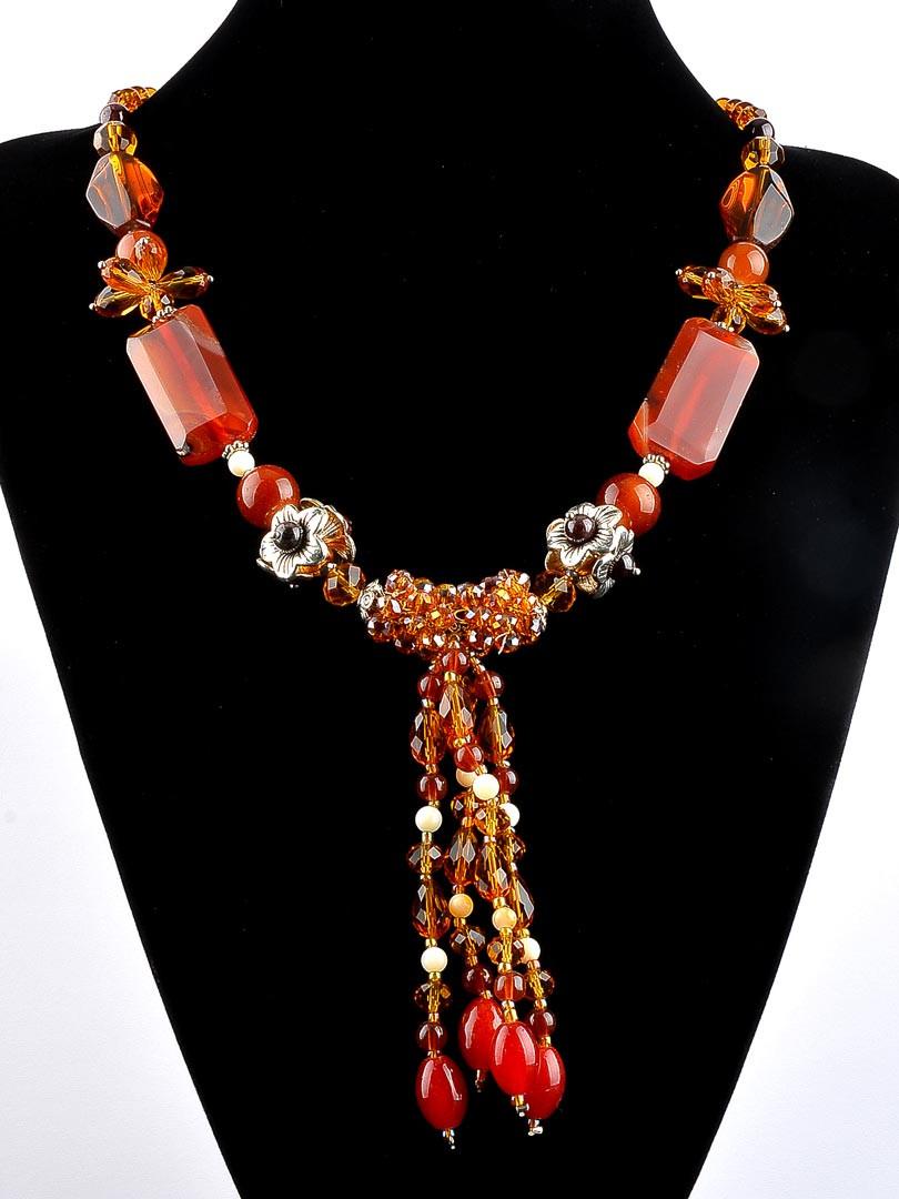 Ожерелье из натурального сердолика