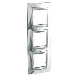 Рамка 3 пост. вертикальная Unica Top хром блестящий/алюминий MGU66.006V.010